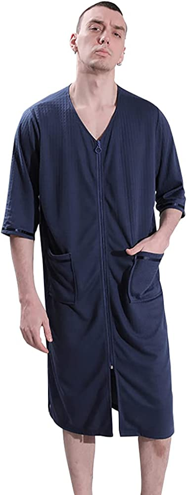 GERINLY Quick Dry Robe Mens Solid Waffle Bathrobe Lightweight Hotel Spa Robes Summer Zipper Pajamas