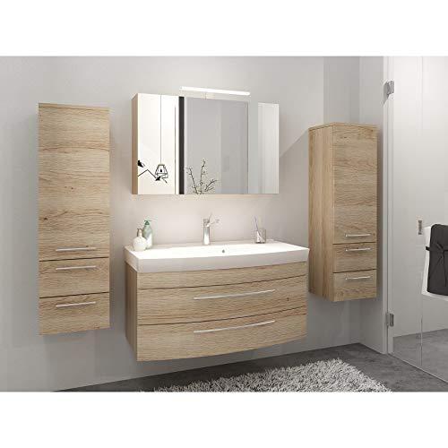 badmöbelset Eiche hell inkl. großen Waschplatz mit Mineralgussbecken und 2 x Hochschränke Spiegelschrank