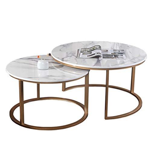 Części maszyn Zestaw stolików kawowych Blat marmurowy Metalowa podstawa żelazna Gniazdo 2 stolików Sofa Morden Stolik kawowy do salonu Meble biurowe [mała przestrzeń]