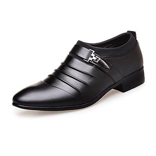 Neivobos Smoking-Kleid-Schuhe der Männer mattieren PU-Leder-Spleiß-oberes Beleg-auf Breathable gezeichnetes Geschäft Oxfords (Color : Black, Size : 43 EU)