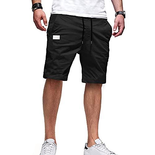 GAOHONGMEI - Pantaloncini cargo estivi da uomo, in cotone, per esterni, motivo causale, dritto, a cinque punti, multi-tasca, da lavoro, escursionismo, abbigliamento da lavoro nero-2XL
