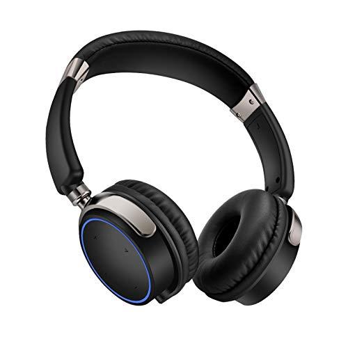ヘッドマウントBluetoothヘッドセット、ハイファイ折り畳み式無線および有線ステレオヘッドセットマイクロSD/TF、携帯電話用のFM、PC Black Blue