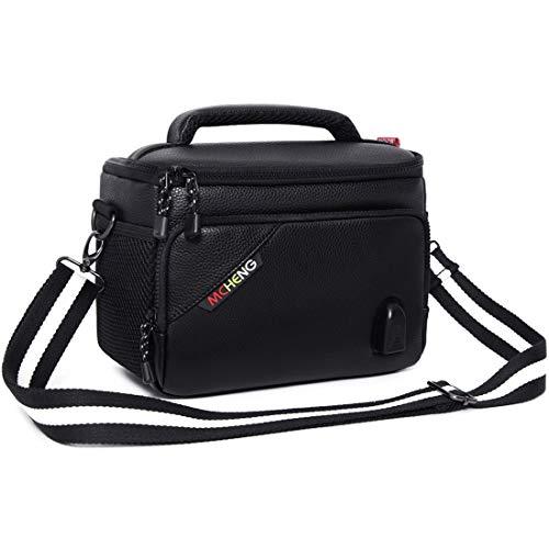 MCHENG Stoßfest Wasserdicht PU Leder Kameratasche Camera Hülle Bag , Schwarz (USB-XL)