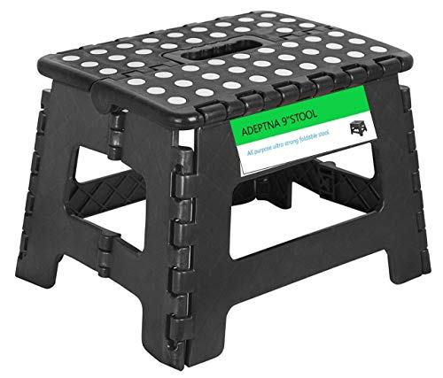"ADEPTNA Super Strong Plastic Folding Step Stool - Premium Compact and Lightweight Anti Slip Foldable Stool with Handles for Kids and Adults (9"" SMALL STOOL)"