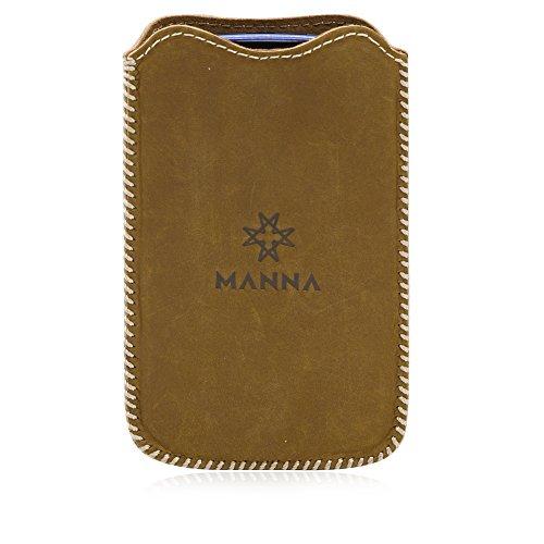 Manna Funda Universal de Piel móviles de 4  como Galaxy S3 Mini, S4 Mini, Xperia Z1 Compact, Z2 Compact, Z3 Compact, iPhone 4, iPhone 5, iPhone 5SE, Moto E | Piel Genuina Marrón
