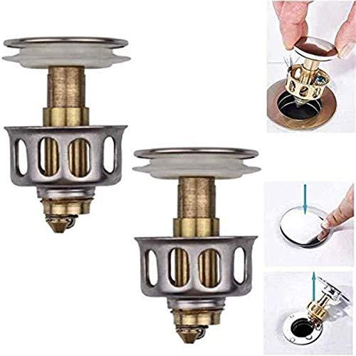 2PCS Universal-Waschtisch-Absprungfilter, eingebautes Verstopfungssieb, Pop-up-Ablassschraube für Waschbecken mit Korb, Durchmesser 35 mm