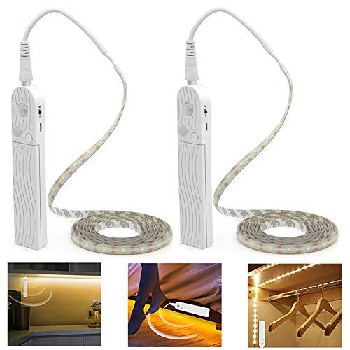 Luces para Armarios, PDGROW 10FT Luz de Tira, Iluminación LED para Debajo del Gabinete, Interruptor de Sensor de Día/Noche, Luz Debajo del Gabinete 5 V USB y funciona con pilas Blanco frío, 2 PCS