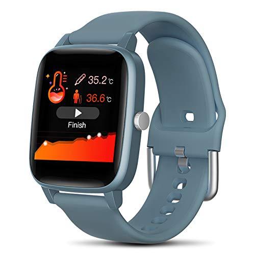2021 Smartwatch Orologio, Con Funzione di monitoraggio della salute e Sport. Misurazione della temperatura corporea, Pressione sanguigna, frequenza cardiaca e altro. Per Android e iOS. (Blu)