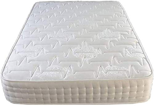 Double Mattress Memory Foam 1000 Pocket Spring Count Mattress Encased 9 Inch Deep Thick Dual Season Damask & Quilted Damask Fabric White Mattresss - 4ft6 Double