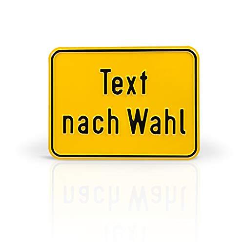Betriebsausstattung24® Individuell gefertigtes Schild im Querformat mit Wunschtext | Geprägt | Text nach Wahl | Aluminiumschild | Gelb/schwarz | Ecken abgerundet | Größe: 40,0 x 30,0 cm