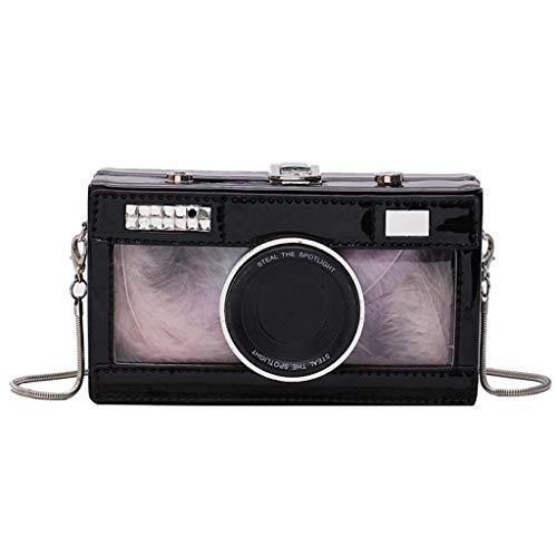 haia7k4k Bandolera de piel sintética con forma de cámara de 18 x 5 x 10 cm, color Negro, talla Medium