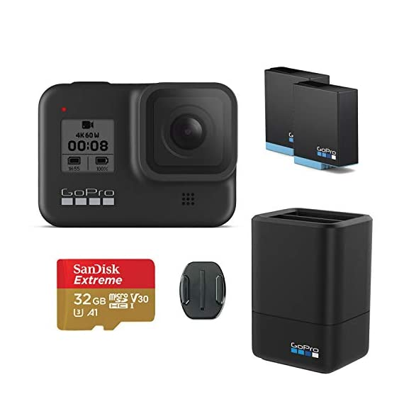 Gopro hero8 black action camera w/gopro dual lithium-ion battery charger with 1 x battery and 32gb memory card 1 this k&m bundle includes all standard gopro accessories + limited 1-year warranty (through manufacturer) gopro hero 8 box includes: gopro hero8 black, rechargeable battery, curved adhesive mount, mounting buckle, thumbscrew, usb-c cable, limited 1-year warranty gopro hero 8 features: hypersmooth 2. 0 video stabilization, timewarp 2. 0 stabilized time-lapse video, live streaming in 1080p, raw in all photo modes, night lapse video