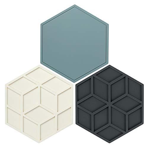 Vtrem Juego de 3 salvamanteles de silicona para cocina, resistente al calor hasta 248 °C, posavasos antideslizantes, lavable en lavavajillas, multiusos, 3 colores
