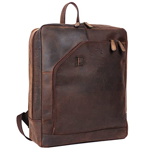 TUSC Corvus Premium Leder Rucksack für Laptops bis 15,6 Zoll für Damen und Herren, Tagesrucksack Unisex, Daypack Vintage Braun, Größe 31x40x16 cm
