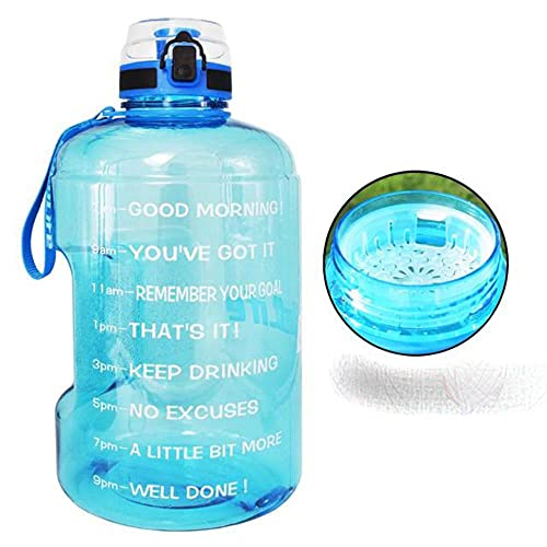 128oz 73oz 43oz Sport Botella de agua de gran galón con filtro Net Fruit Infuse Free My Drink Botellas Jarra Calabaza Senderismo-2.2L, Azul cielo