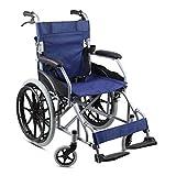 TWL LTD-Wheelchairs Rollstuhl Faltbarer Leichtgewichtiger Mobiler Rollstuhl für Ältere Menschen mit Behinderung, Blau -