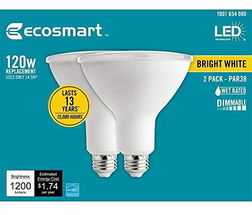 EcoSmart 120-Watt Equivalent PAR38 Dimmable Energy Star Flood LED Light Bulb Bright White (2-Pack)