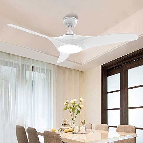 Modern White Ceiling Fan with LED Light and Remote-Depuley 52 In Industrial Fan Light Kit, 3-Blade Dimmable Fan Light Fixture for Kitchen/Dining Room/Bedroom Lighting, 3 Color Changeable, Timing