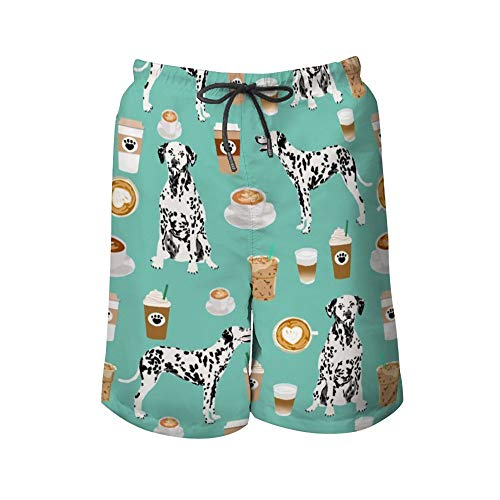 Cargo Short for Men, Half Pants Full Elastic Waist Regular & Extended Sizes Beachwear for Beach Outdoor Hiking, Dalmatians Cute Mint Coffee Best Dalmatian Dog Shorts, Fast Dry/Washed