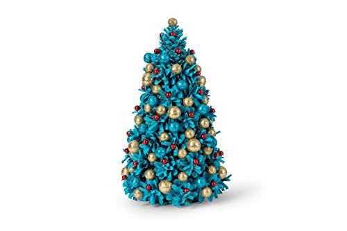 MilkMama Árboles de Navidad Hechos a Mano | Decoración Navideña de Mesa Artesanal | Adornado de Diseño Único Árbol de Navidad Decoración de Tablero de Mesa | Hecho a Mano en Europa (Turquesa)
