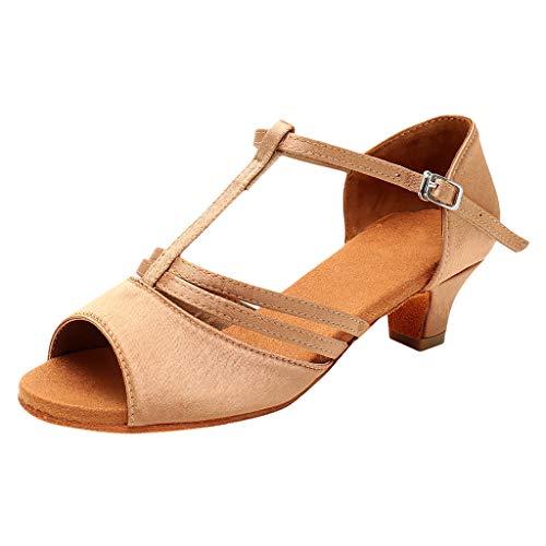 JiaMeng Mädchen Satin Standard Latein Tanzschuhe, Ballsaal Salsa Tango Schuhe, Outdoor Prinzessin Sandalen, kleine Schuhe, Gemütlich Weiche Sohle Mädchenschuhe