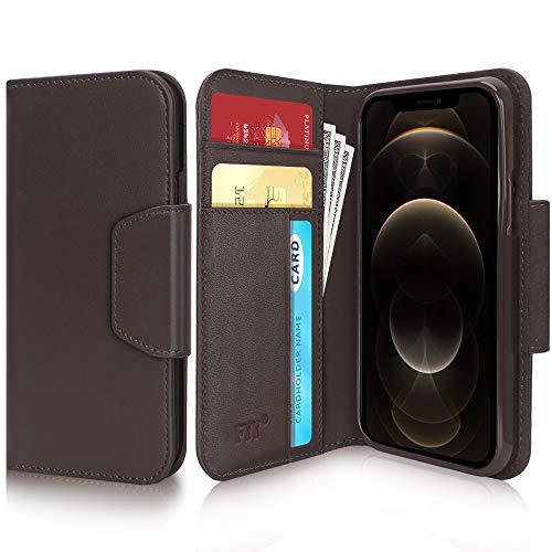 """FYY - Custodia a portafoglio per iPhone 12/12 Pro, antibatterica e antibatterica, in vera pelle di vacchetta, con scomparti per carte di credito per Apple iPhone 12/12 Pro da 6,1"""", colore: Marrone"""