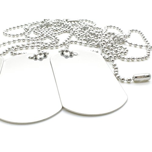 100 Combo Shiny Stainless Steel Military spec Dog Tags - Blank with Stainless Steel Chains (100 Dog Tags w/ 24' Chains)