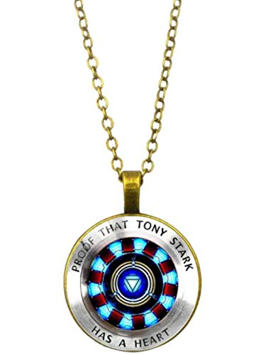 GOPOWR Endgame Iron Man Proof That Tony Stark Has a Heart Chain Link Necklace Logo Pendant Arc Reactor Movie 4 for Men Women Costume Cosplay (Bronze)