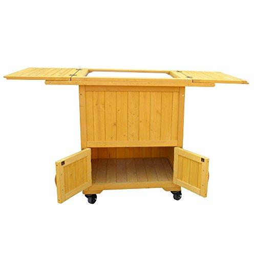 Leisure Season Wooden Cooler Warmer Cart