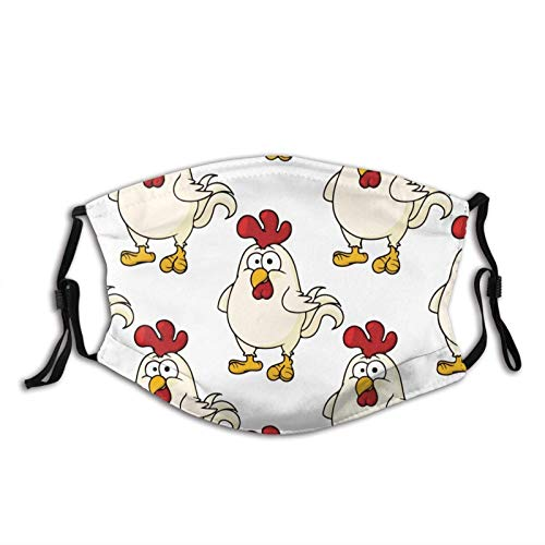 Chicken Cute Mask Balaclava Reusable Washable Anti-Dust Mouth Bandanas with 2 Pcs Filters
