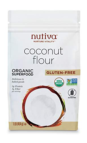 Nutiva Organic Unrefined Gluten-Free Coconut Flour, 1 Pound | USDA Organic & Non-GMO | Vegan & Gluten-Free | High-Fiber and Non-Grain Flour Alternative for Cooking & Baking