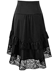 Kelvry Women Plus Size Vintage Victorian Steampunk Corset Skirt with Adjustable Ruffle High Low Gothic Skirt Black #1