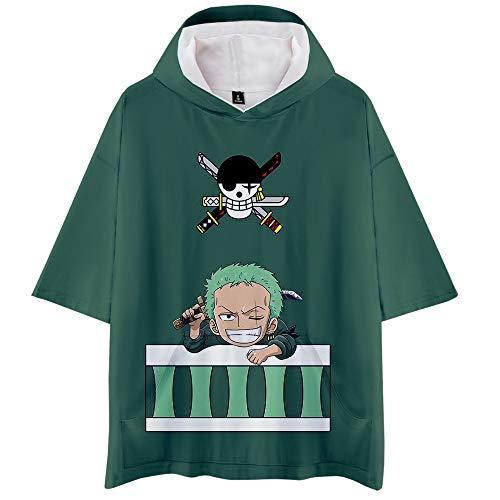 ONE Piece T-Shirts mit Kapuze 3D Digitaldruck Sommer Unisex Luffy Chopper Zoro Nami Sanji Anime Cosplay Lose Kurzarm Hoodie Tops Freizeit Kurzärmliges Hemd für Liebhaber Herren und Damen