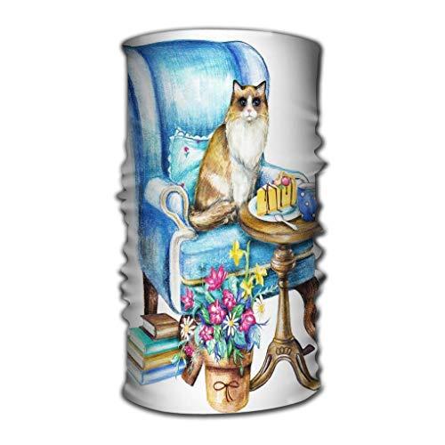 Quintion Robeson Stirnband Bandana Versatile Aquarell Zusammensetzung Ragdoll Katze Sitzen Sessel Stuhl Topf Blumen Becher Kuchen Bücher Weißer Hintergrund Bleistifte