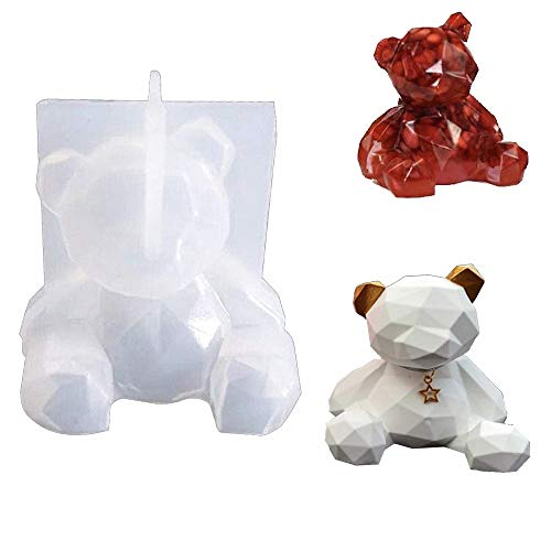 3D Bear Resin Mould Silicone Crystal Epoxy Casting Mold Cake Candle Soap Jewelry Making Moulds for Handmade Gift Resin Craft DIY