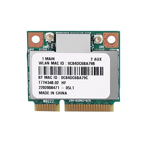 ASHATA Scheda WiFi, 2,4 GHz + 5 GHz Dual Band PCI-E Scheda Bluetooth Wireless 300 Mbps, Mini Scheda PCI-E Wireless Portatile per PC Notebook Desktop ECC