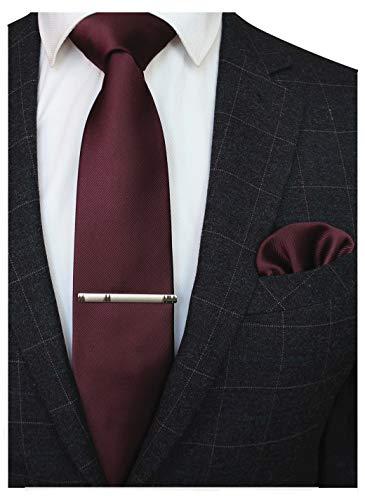 JEMYGINS Herren Hochzeit Kastanienbraun Krawatten und Einstecktuch krawattenklammer Set einfarbig in verschiedenen Farben (5)