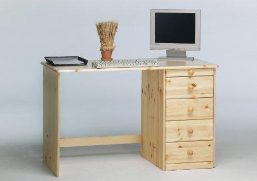 Kent Schreibtisch mit 4 Schubfächern, naturlackiert