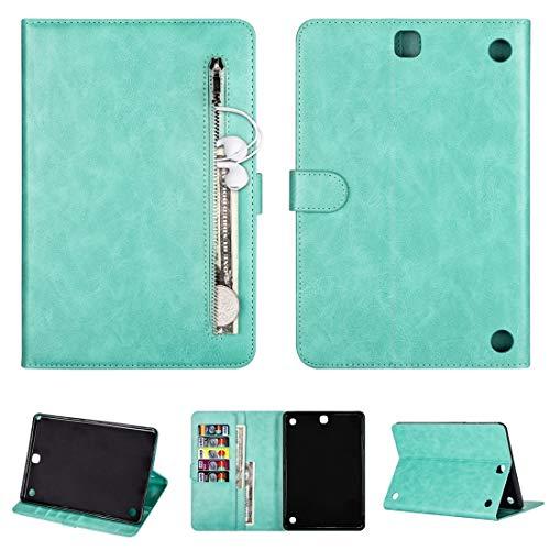 LENASH para Samsung Galaxy Tab A9.7 T550 Tablet Fashion Calf Texture Zipper Flip Horizontal Funda de Cuero con Ranuras de Soporte y Tarjeta y Wallet & Walk-up/Función de Descanso Funda para Phone