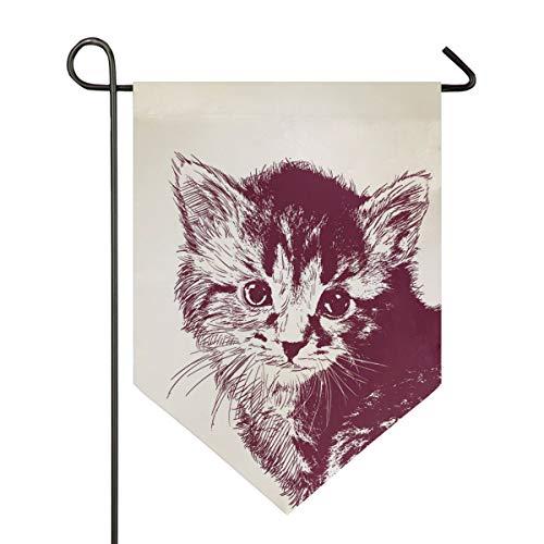 DEZIRO Gartenflagge Burgunderrot Haar Katze Muster vertikal doppelseitig Yard Decor bunt Design für alle Jahreszeiten & Urlaub, Polyester, 1, 28x40in