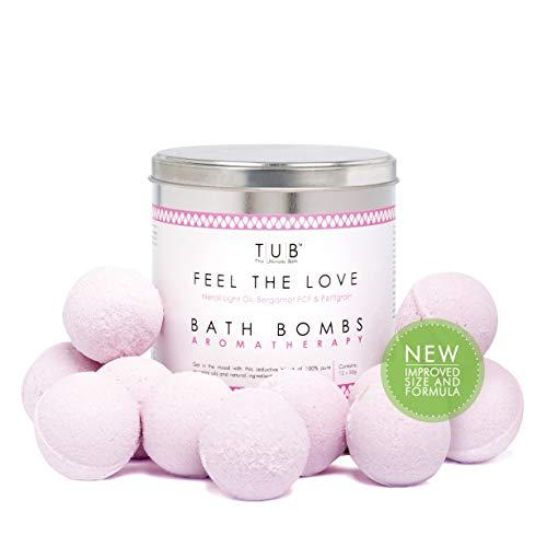 Aromatherapie Badbommen x 12 van TUB - The Ultimate Bath Gift Pack 480g gemaakt met 100% pure etherische oliën, Epsom zouten & Zoete Amandelolie