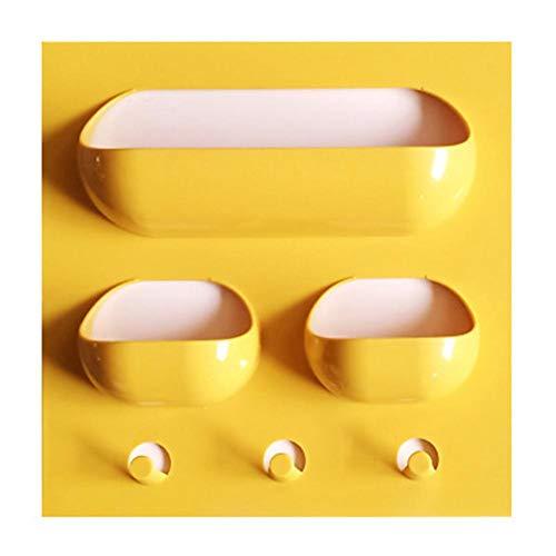 UMTGE - Estantes de ducha montados en la pared, accesorios de baño, sin taladrar, color verde oscuro, amarillo