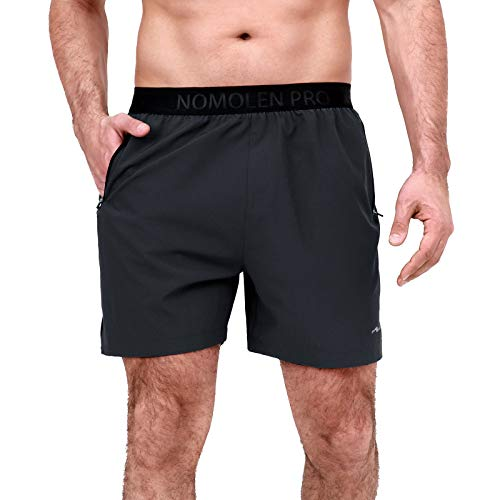 Nomolen Men's 5 Inches Workout Running Shorts Dry Fit Lightweight Athletic Gym Training Shorts with Zipper Pockets Black