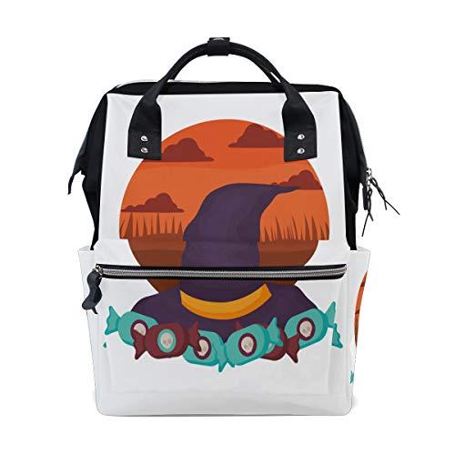 Strega Hat Design Halloween Borse per pannolini a grande capacità Zaino mummia Funzioni multiple Borsa infermieristica Borsa Tote Borsa per bambini Cura del bambino Viaggio Quotidiano Donne