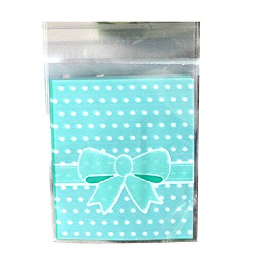 TOOGOO(R) 100 X Vert Noeud Papillon Sac Sachet Pochette De Bonbons Biscuit en Plastique Noeud A Deux Boucles