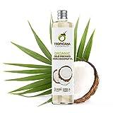 Tropicana Oil Aceite de Coco Virgen Extra Premium 100% Orgánico (100ml) - Salud, Pelo, Piel, Corporal, Cocinar - Aceite Coco Pelo Crudo y Prensado en Frío, Hecho del Coco Completo - 100% Vegano