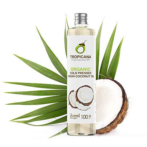 Tropicana Huile de Coco Bio Fractionnée Vierge (100ml) - Huile Coco Bio Pressée à Froid à Partir de Noix de Coco Entières - Usage Cosmétique et Alimentaire - 100% Végane