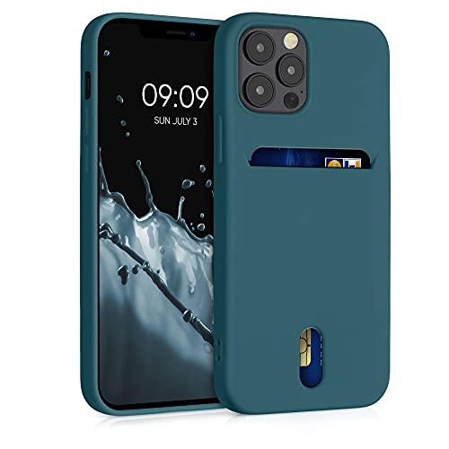 kwmobile Funda Compatible con Apple iPhone 12/12 Pro - Carcasa de Silicona con Tarjetero y Acabado de Goma - petróleo Mate