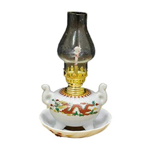 Antike Öllampe Keramik-Nostalgie-Klassiker Lampe Bei Kerosene Kulturrevolution Porzellan Buddha-Licht-Dekoration-Lampe Haus In Öl Ornament Sammlung Tisch Petroleumlampe