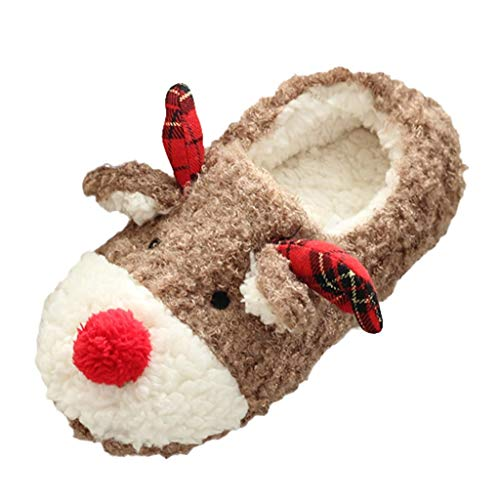 Anliyou Plüsch Hausschuhe mit Elchohren Muster und Karos warm weit kuschelig bequem Hausschlappen für Familie Mädchen Jungen Damen Pantoffeln Indoor Slipper Home Cosyshoe